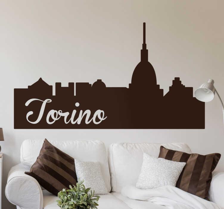 TENSTICKERS. トリノ市のスカイラインシルエットの壁のステッカー. 街の主要なモニュメントとトリノというフレーズが入ったトリノ風景ステッカー。あなたがこのイタリアの街を愛しているなら完璧です!