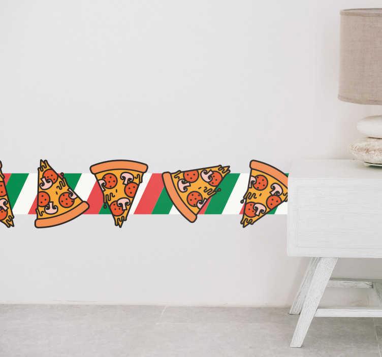 TenStickers. Muursticker sierrand pizza. Een sierrand muursticker met de meest heerlijke maaltijd die deze wereld te bieden heeft, pizza. Een must-have voor de echte liefhebber.