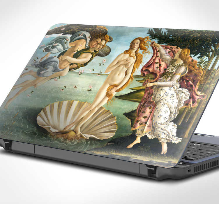 """TenStickers. Pegatinas portátil Venus Botticelli. Schöner Laptopaufkleber mit dem Kunstwerk von Botticello """"Die Geburt der Venus"""". Tolle Dekorationsidee für Ihren Laptop."""