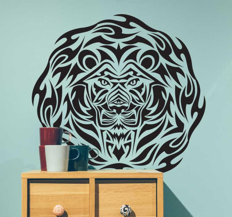 TenVinilo. Vinilo decorativo león tribal. Vinilo mural con detallado diseño basado en un estilo étnico tipo tatuaje con el retrato del rey de la selva.