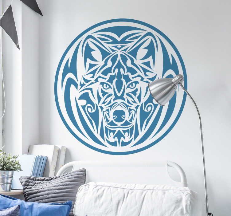 Vinilo decorativo lobo tribal
