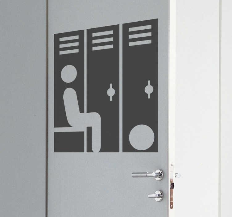 TENSTICKERS. ロッカールームサインガラスドアステッカー. ベンチに座っている棒人間を示すロッカールームサインステッカーは、スポーツクラブやジムを運営している場合に最適なデザインです。