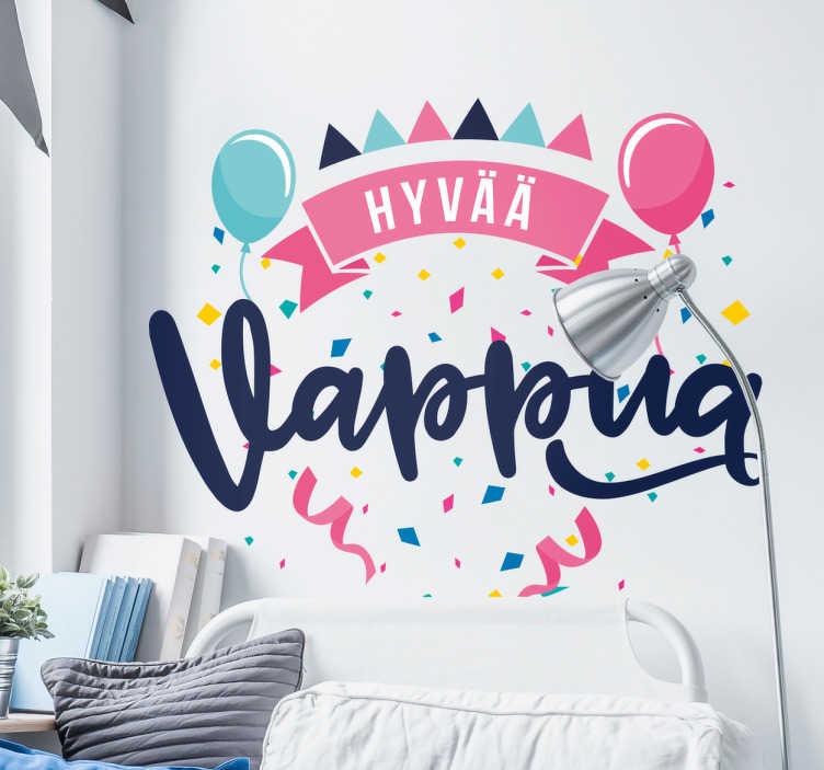 Tenstickers. Tarra hyvää vappua. Onko vappu yksi sinun suosikki juhlapäivistä? Kiinnitä tämä mahtava tarra seinällesi kansainvälisen työväen juhlapäivänä.