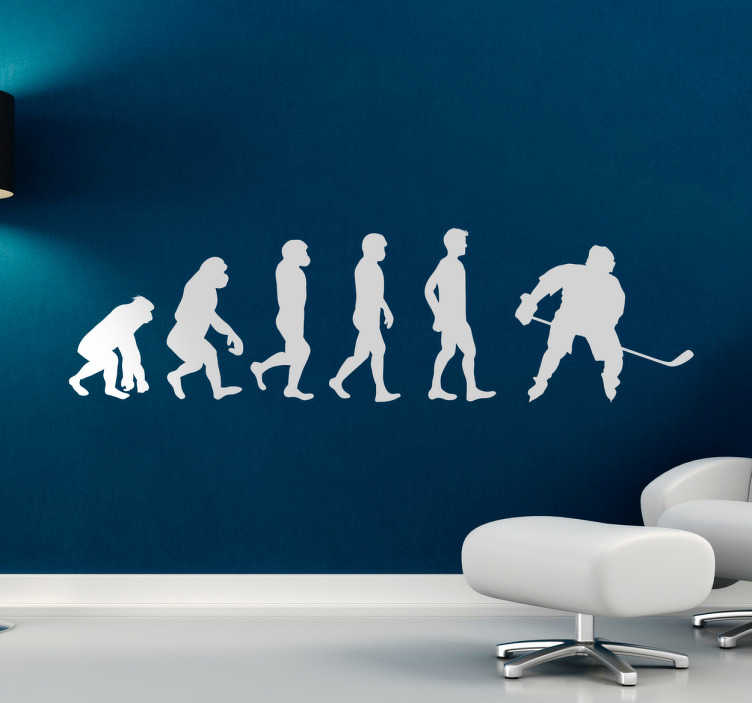 TenStickers. Muursticker evolutie mens ijshockey. Een gave muursticker van de evolutie van de mens. Van de ijshockeyer, om precies te zijn. Wanddecoratie voor de echte liefhebber van ijshockey.