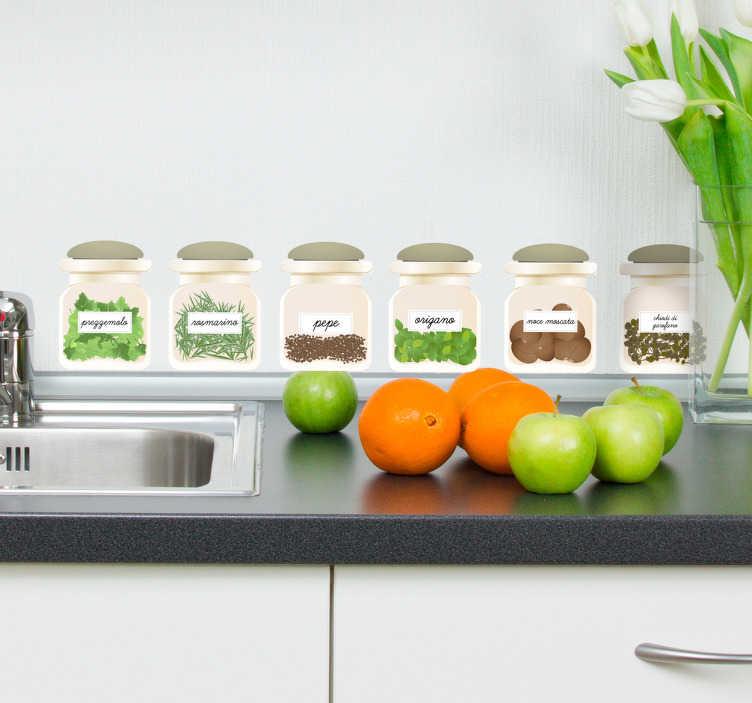 Adesivo per cucina piante aromatiche - TenStickers