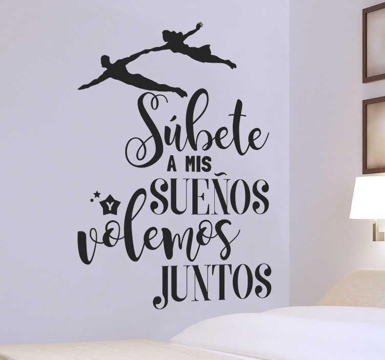 TenVinilo. Vinilo pared súbete a mis sueños. Vinilos decorativos románticos ideales para decorar las paredes de tu habitación de matrimonio o el salón.