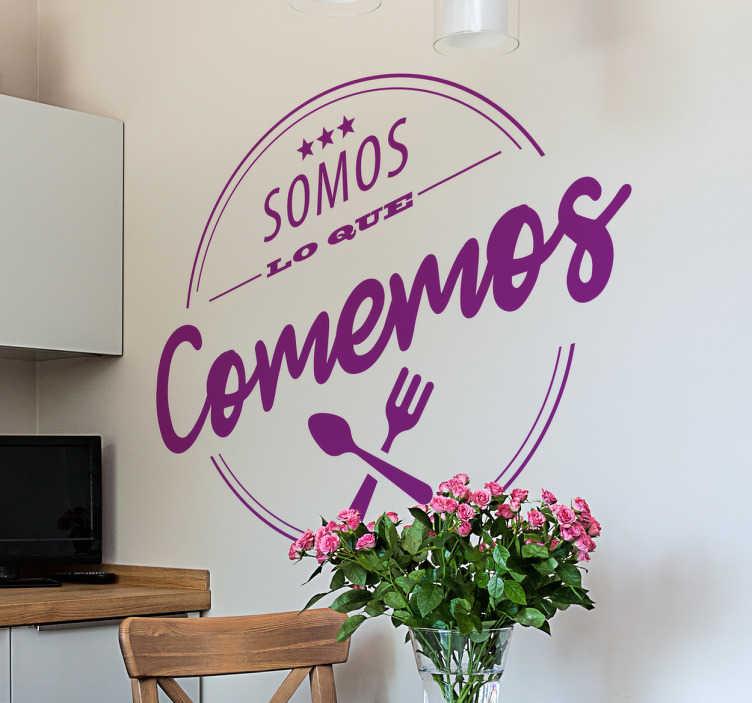 TenVinilo. Vinilo somos lo que comemos. Vinilos decorativos originales ideales para decorar la cocina de tu casa o las paredes de un restaurante.