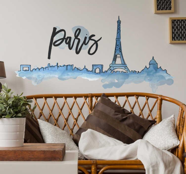 TenVinilo. Vinilo Skyline París Acuarela. Vinilo de pared con una bonita ilustración del skyline de París en unos tonos azules pintados con acuarela.