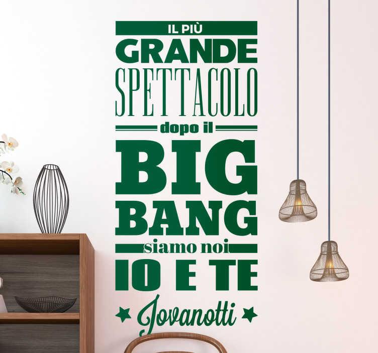 TenStickers. Adesivo Big Bang Jovanotti. Adesivo Big Bang Jovanotti, ottimo per tutti gli amanti della musica italiana, e di uno dei cantanti più famosi degli ultimi anni.