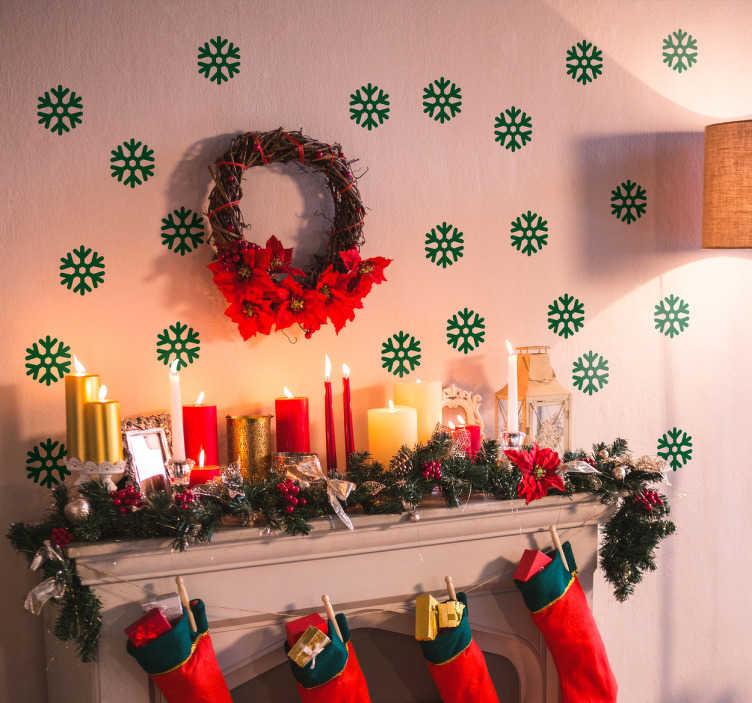 TenStickers. Sticker lot flocons de neige. Sticker de lot de flocons de neige parfait pour ceux aimant Noel et voulant donner l'ambiance de noël dans leur maison.