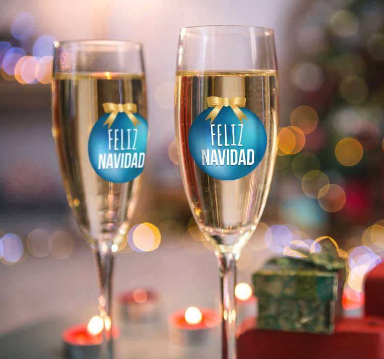 TenVinilo. Pegatina para copas feliz Navidad. Decora los vasos que pondrás en tu elegante mesa estas fiestas navideñas con unos adhesivos muy especiales.