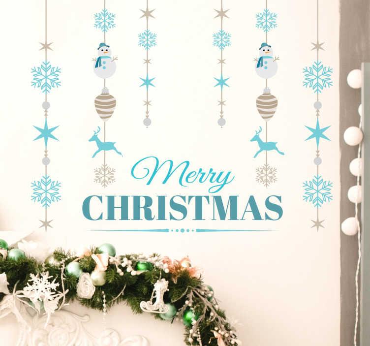 TenStickers. Autocolante decorativo feliz natal. Autocolante decorativo para o natal. Este sticker decorativo com flocos de neve e elementos natalícios irão dar um toque especial à tua casa.