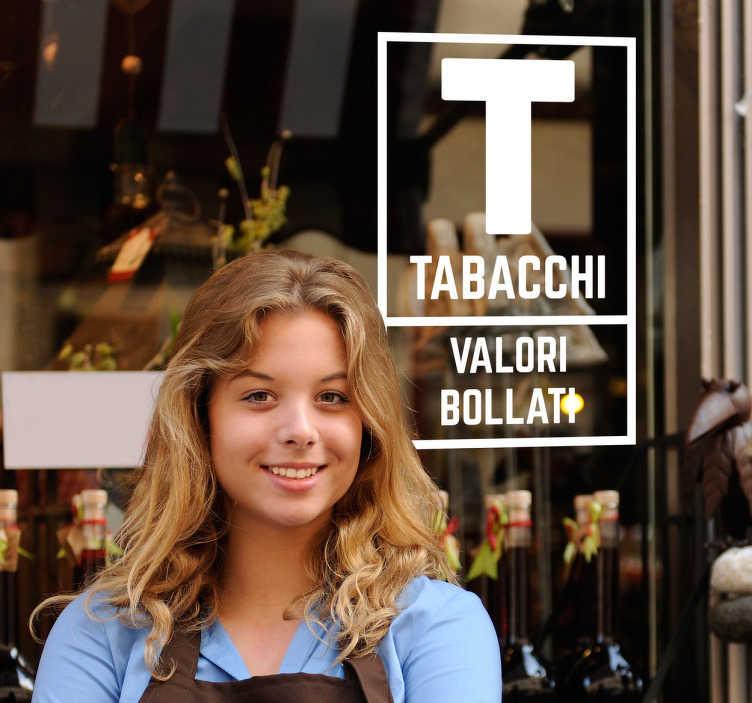 TenStickers. Adesivo segno del tabacchi. Adesivo raffigurante il tipico logo che contraddistingue i vari tabaccai, caratterizzato dalla T grande, i tabacchi e i valori bollati.
