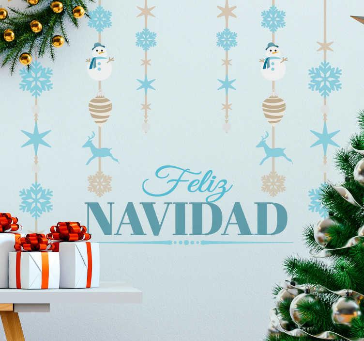 TenVinilo. Vinilo colgantes navidad tonos azules. Vinilos decorativos navideños con un diseño elegante y original, perfecto para decorar las paredes de tu casa.