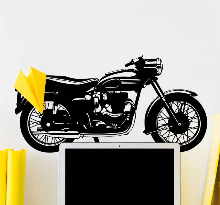 TenVinilo. Adesivo silueta moto antigua. Vinilo decorativo con la silueta de una antigua moto estilo Ducati o Guzzi muy populares entre los años 60 o 70, un referente para todos los amantes de las motos clásicas.