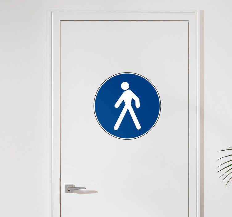 TenStickers. Adesivo decorativo segnale pedone. Adesivo decorativo raffigurante un segnale stradale di un pedone, ottimo per decorare i vari ambienti della propria casa o la propria attività