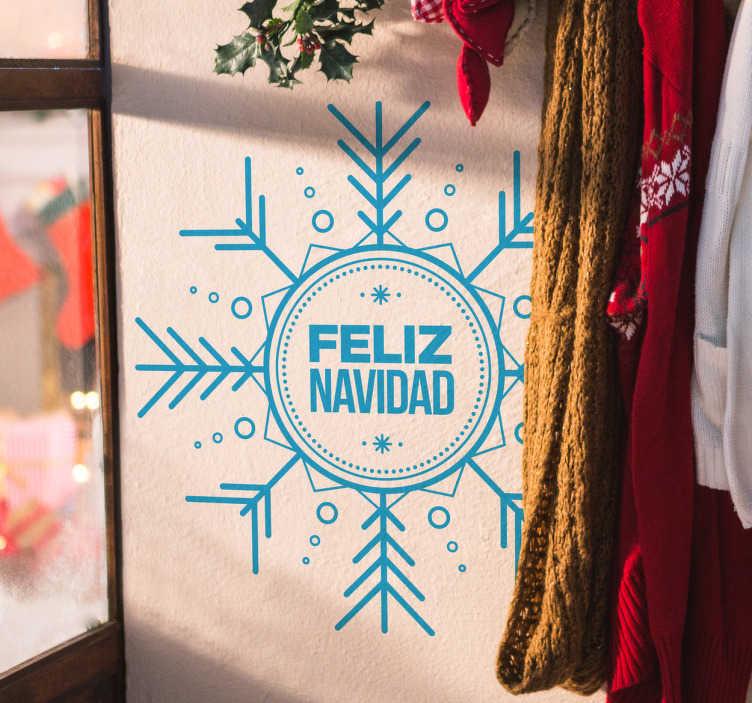 TenVinilo. Vinilo copo de nieve feliz navidad. Vinilos navideños ideales para decorar con un estilo moderno y elegante tanto las paredes de tu casa como el escaparate de tu negocio.