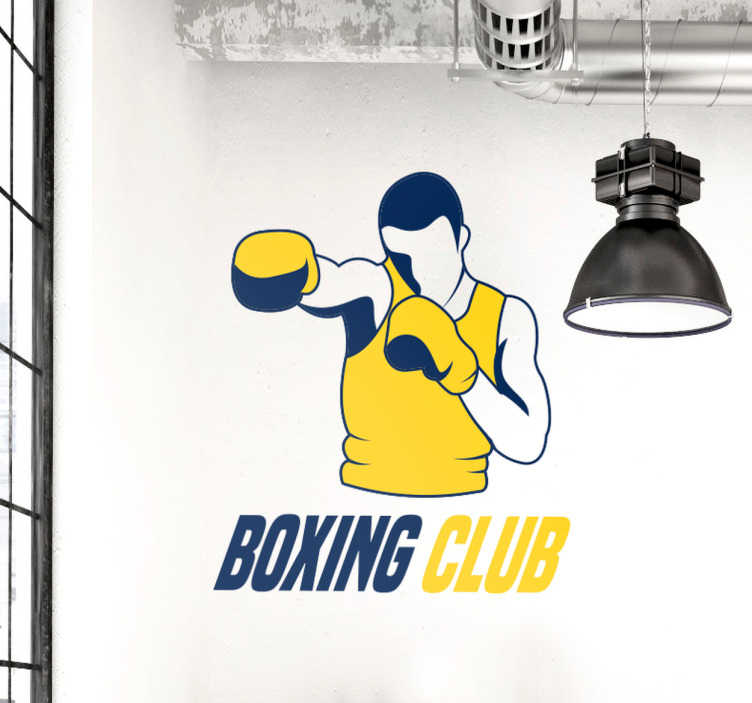TenStickers. Sticker boxeur Boxing Club. Sticker aux couleurs jaune et bleu d'un boxeur avec la phrase Boxing Club en dessous pour les passionnés et pratiquants de ce sport de combat.