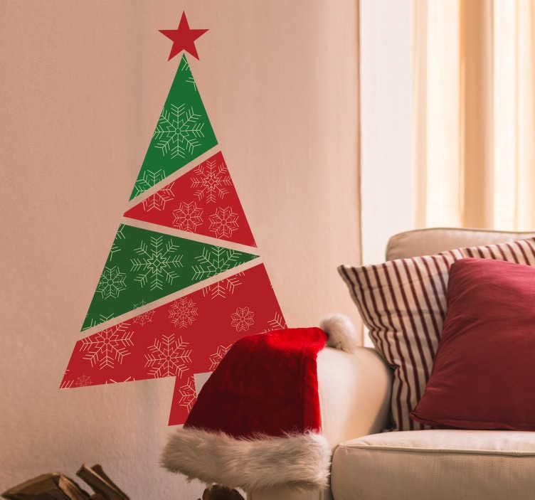 TenStickers. Wandtattoo geometrischer Weihnachtsbaum. Schönes aber dennoch dezentes Wandtattoo mit einem Weihnachtsbaum in geometrischer Optik. Perfekt für das Weihnachtsfest!