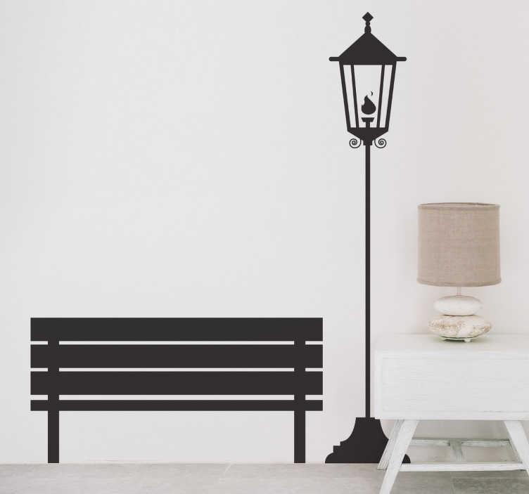 TenStickers. Autocolante decorativo banco e candeeiro antigos. Autocolante decorativo com um banco e candeeiro de rua. ste sticker decorativo permitirá que a decoração de interiores da sua casa se torne autêntica.