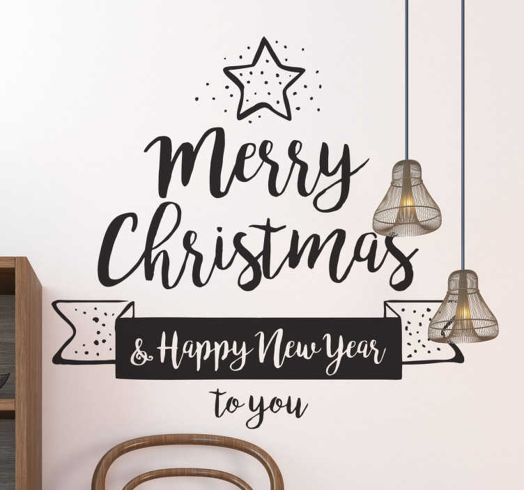 TenStickers. Sticker merry christmas happy new year. Fijne kerst en een gelukkig nieuw jaar! Laat dit iedereen weten met deze sfeervolle sticker. Leuk voor op het raam thuis, op kantoor of in uw winkel.