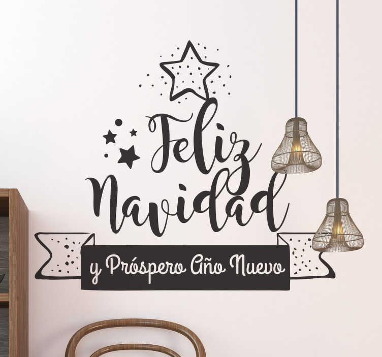 TenVinilo. Vinilo felicitación navideña. Vinilos decorativos Navidad con un bonito diseño tipo lettering, disponible en el tamaño y color que requieras.