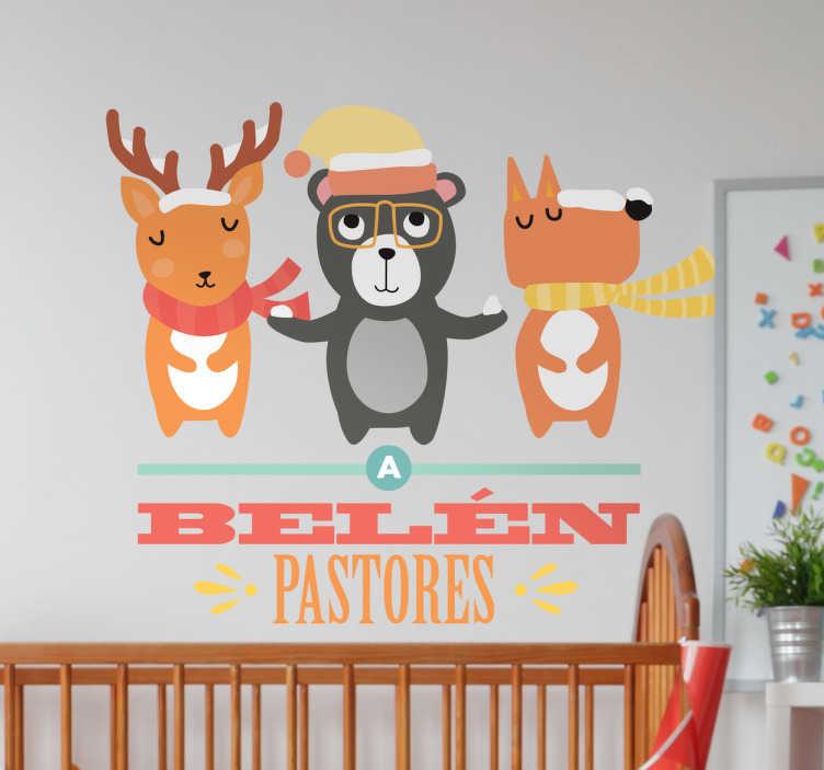 TenVinilo. Vinilo infantil a Belén pastores. Vinilos murales para niños pequeños con una de los villancicos más populares de las fiestas navideñas.