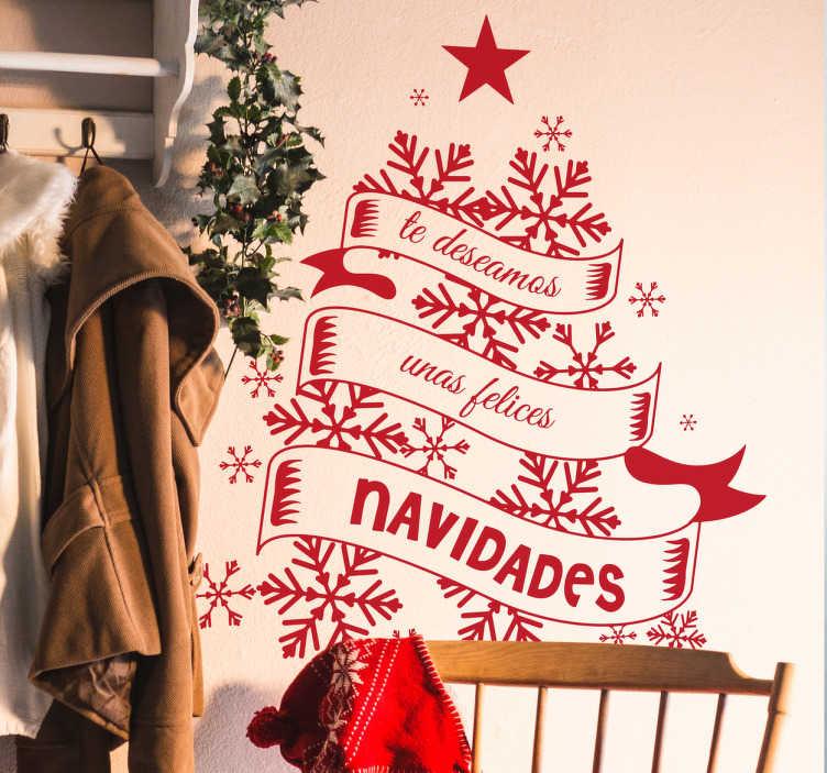 TenVinilo. Vinilos Navidad felices fiestas. Decora tu casa o el escaparate de tu tienda estas fiestas con vinilos Navidad originales y elegantes.