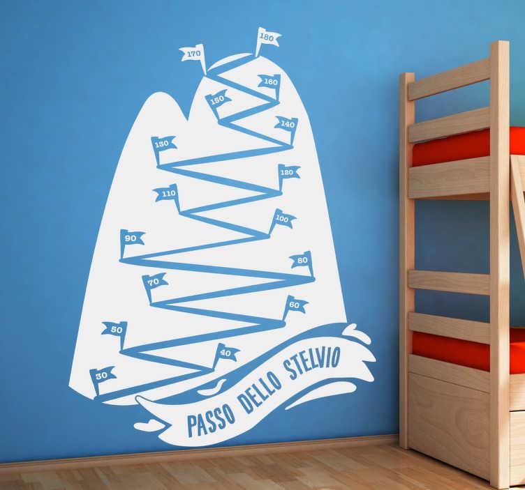 TenStickers. Adesivo metro Stelvio. Adesivo metro Stelvio, decora la stanza dei tuoi figli con un adesivo non solo utile e divertente, ma anche raffigurante il circuito dello Stelvio.