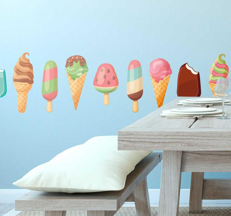 TenStickers. Muursticker sierrand ijsjes ijscoman. Ideale muursticker behangrand voor de ijscoboer, kleurrijk en smakelijk. Wek bij uw klanten eetlust voor uw ijsjes met deze fraaie wanddecoratie.