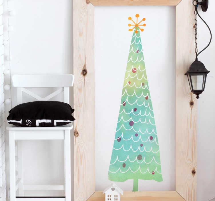 TenStickers. Kerstboom sticker kleurig. Sfeervolle kerstboom om aan de muur, deur of raam te plakken. Voor een zalige kerst gaat er niets boven mooie kerstdecoratie.