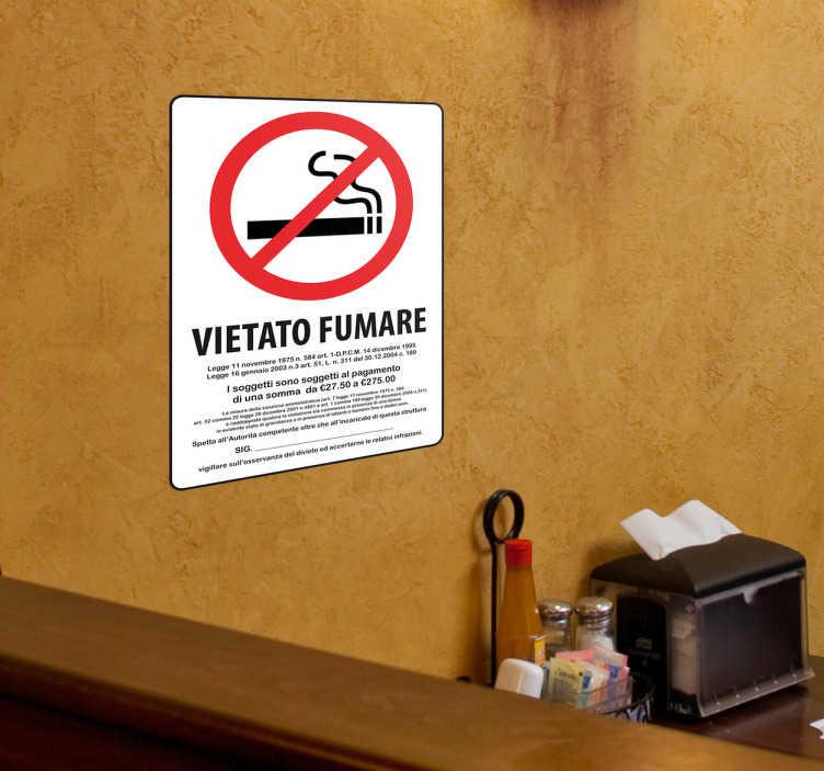 TenStickers. Adesivo segno vietato di fumare. Adesivo raffigurante il segnale di divieto di fumo. È risaputo che ormai da anni è vietato fumare all'interno di locali e in luoghi pubblici segnalati