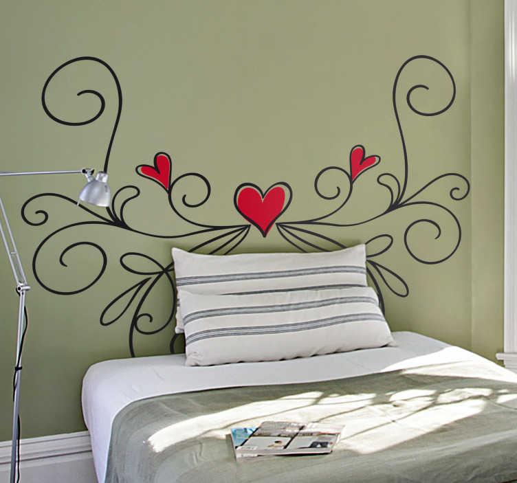 TenStickers. Wandtattoo Herz Ornament. Schönes Wandtattoo mit Herzen in einem Ornament für das Schlafzimmer. Dekorieren Sie Ihr Liebesnest.