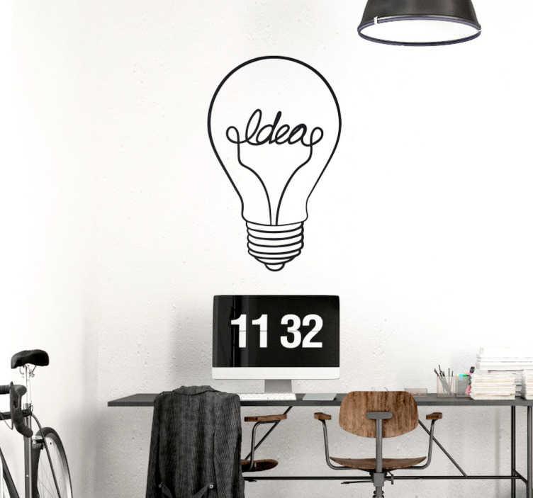 TenStickers. Muursticker gloeilamp idee. Muursticker van een gloeilamp met 'idea' erin geschreven. Een lekker simpele wanddecoratie voor in uw kantoor of op school.
