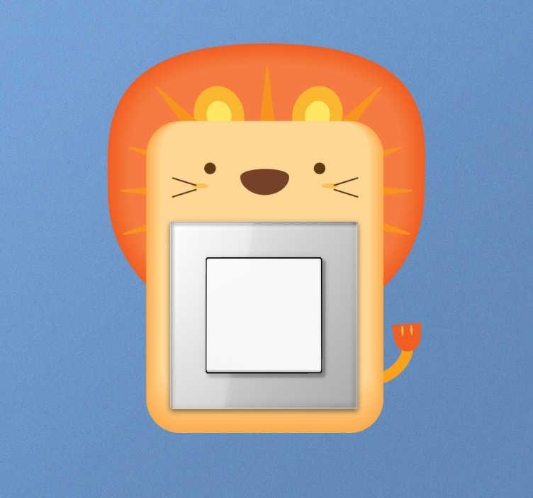 TenVinilo. Pegatina interruptor león. Pegatinas para interruptores pensados para darle un toque alegre al cuarto de tus hijos. Adhesivos para enchufes con el dibujo del rey de la selva.