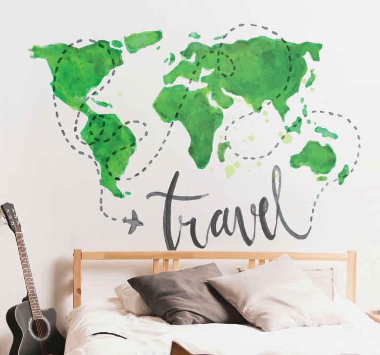 """TenStickers. Adesivo decorativo mappamondo travel. Adesivo murale mondo stilizzato e astratto colorato con un vivace verde in stile acquarello con la rotta di un aeroplanino che fa il giro del mondo e la scritta """"travel"""""""