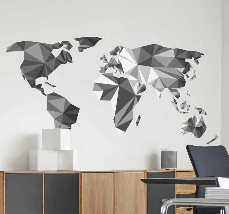 TenStickers. Muursticker wereldkaart geometrisch grijstinten. Een prachtige wereldkaart voor aan de muur in een originele moderne stijl. Een stijlvolle aanvulling op een moderne inrichting van uw woonkamer.