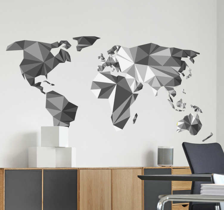 TenStickers. Autocolante decorativo mapamundi 3D. Autocolante decorativo mapa mundi. Coloca este mapa na decoração da sala ou na decoração do escritório.