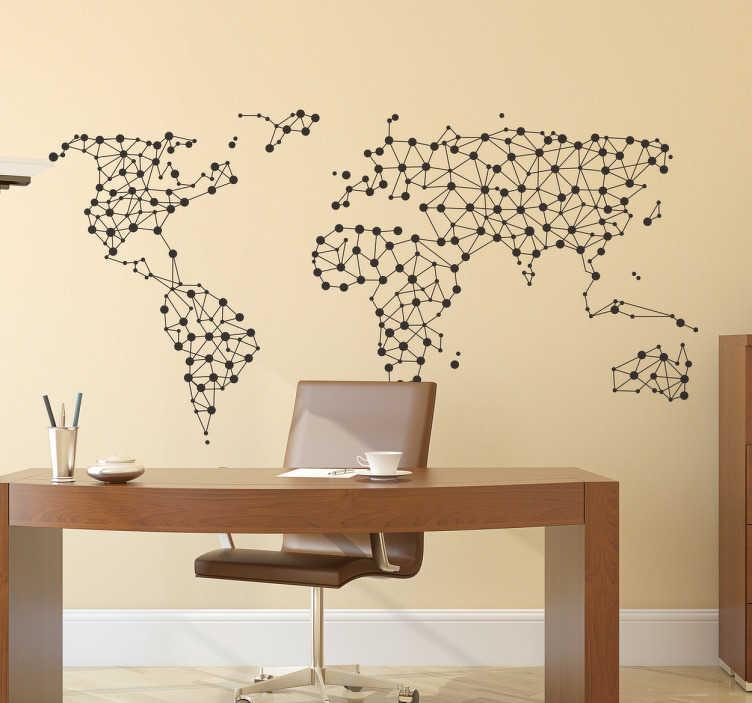 TenStickers. Wandtattoo vernetzte Weltkarte. Cooles Wandtattoo mit einer Weltkarte und vernetzten Punkten. Schöne Dekorationsidee für das Büro.