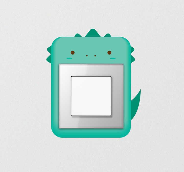 TenStickers. Autocolante para interruptor dinossauro. Autocolante decorativo para interruptores de quarto infantil com ilustração de um dinossauro. Fácil de aplicar sem bolhas nem vincos.