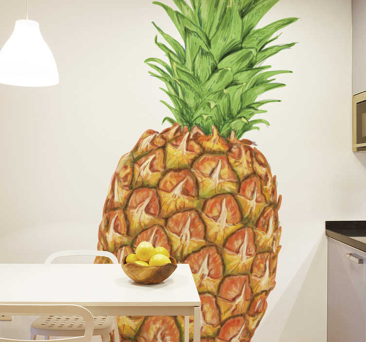 TenStickers. Muursticker ananas. Een originele muursticker van een ananas, om uw huis op te fleuren met een tropische touch. Breng sfeer in uw kamer met dit heerlijke fruit.