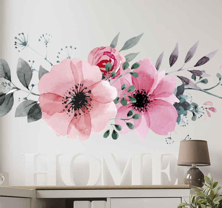 TenStickers. 아름 다운 핑크 꽃 벽 스티커. 집을 꾸미기위한 핑크 꽃 무늬 데칼. 꽃 벽 아트 스티커의 우리의 컬렉션에서 놀라운 그림.