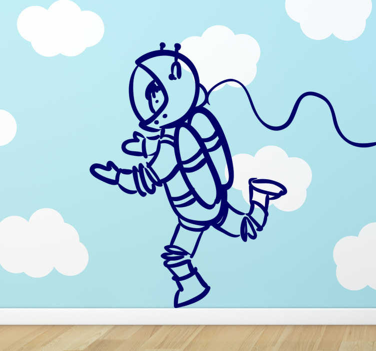 TenStickers. Kids Stickers Space Explorer. Kids sticker wall art-outline sketch of an astronaut, available in a variety of colours and sizes.