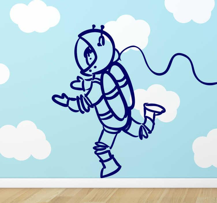 TenStickers. Autocolante parede infantil astronauta. Autocolante de parede infantil ilustrando um astrounata numa aventura espacial, este autocolante divertido fará o seu filho imaginar-se no espaço.