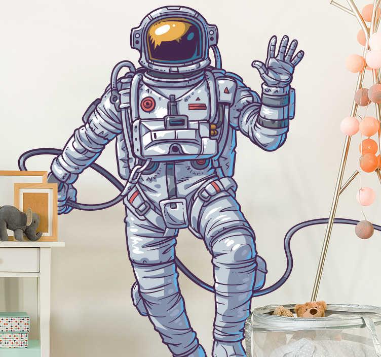 Tenstickers. Astronaut vegg klistremerke. Detaljert astronautmuren klistremerke for å dekorere et barns rom, lekrom eller ungdomsrom, fra vår samling av veggmuren klistremerker. Denne originale designen viser en fantastisk illustrasjon av en vinkende astronaut som flyter i rommet fra hans romskip.