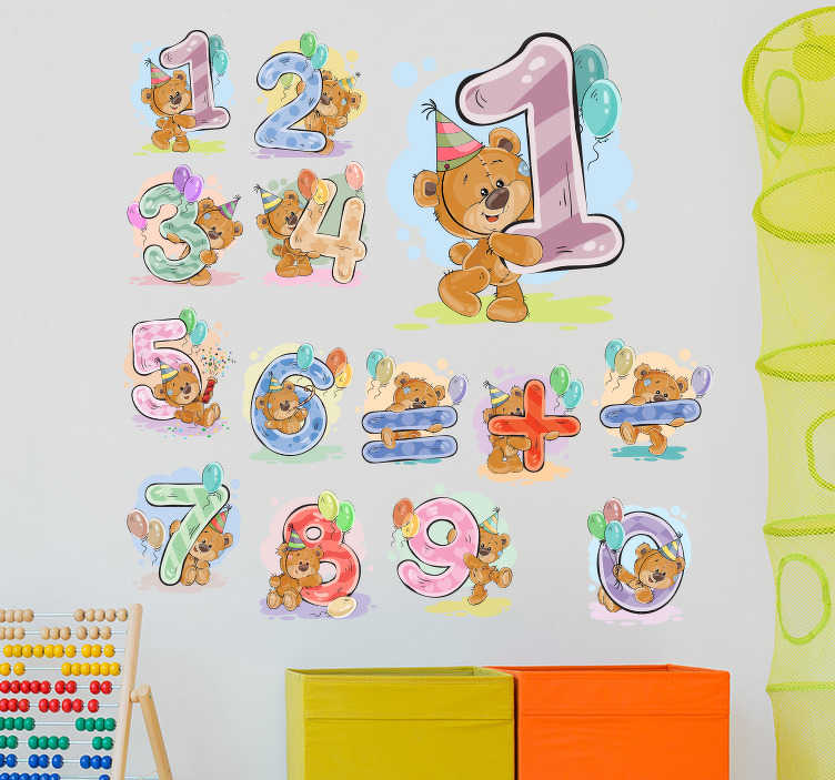 TenVinilo. Vinilo infantil números osos. Set de vinilos infantiles con distintos osos de peluche sujetando números y símbolos. Un diseño infantil ideal para decorar tu fiesta o una escuela.