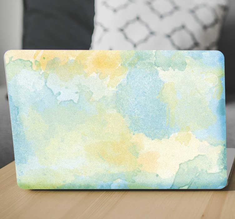 TenStickers. Laptopsticker aquarel pastel. Kunstzinnige laptopsticker met een patroon van aquarel in pastel kleuren. Ideaal voor kunstenaars en liefhebbers van kunst.
