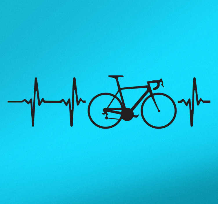 TenStickers. Cycle heartbeat Car Decal. Car sticker for lovers of cycling. A decorative vinyl on which a bicycle appears along with sound waves that symbolize the heartbeat.