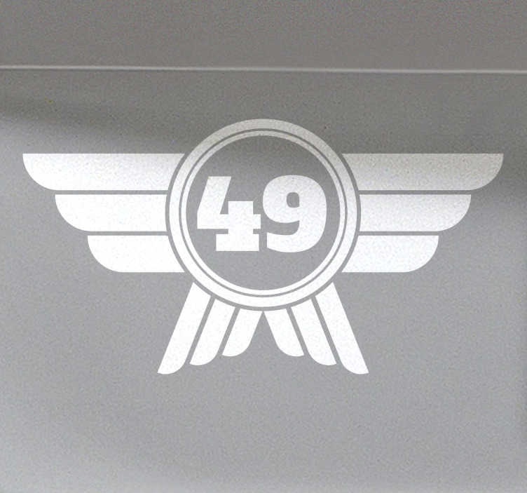 TenVinilo. Pegatinas para coche classic. Pegatina para coche con un diseño clásico de un número con un escudo alado, perfecto para decorar las puertas o el capó de tu coche.