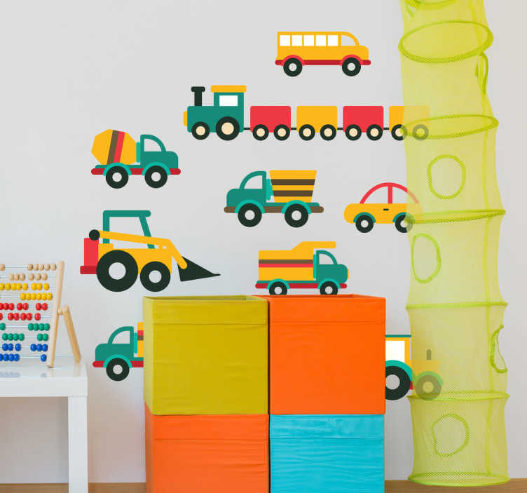 TenStickers. Autocolante infantil carrinhos variados. Autocolante infantil de diversos veículos. Ideal para a decoração dos quartos infantis ou do quarto infantil da casa.